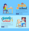 back to school poster set with girl and boy vector image