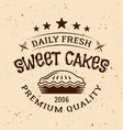 bakery vintage emblem with pie and text vector image