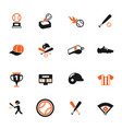 baseball color icon set vector image