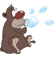 Bear cub and soap bubbles Cartoon vector image vector image