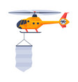 blue helicopter with blank banner air vehicle vector image vector image