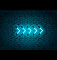 blue neon glowing arrow pointer on dark brick wall vector image