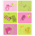 cartoon animals card vector image