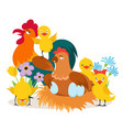 cartoon cute chicken family with babies vector image vector image