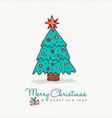 christmas and new year holiday pine tree cartoon vector image vector image