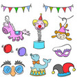 collection circus element cute doodles vector image vector image