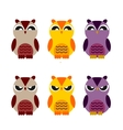 colored cute owls set of flat icon vector image vector image