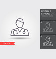 doctor with stethoscope line icon with editable vector image vector image