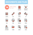 documents and files - modern line design icons set vector image vector image