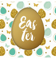 easter card with golden and green eggs vector image vector image