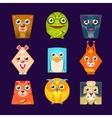 geometric shape flat cartoon animals set vector image vector image
