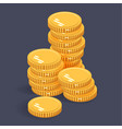 gold stack coins isometric money icon on a vector image