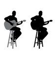 guitar player sitting on a bar stool vector image