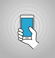 Hand holding modern smartphone vector image vector image