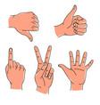 hands gestures hand drawn set logo design vector image