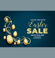 happy easter festival sale banner with golden eggs vector image