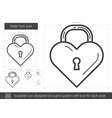 heart lock line icon vector image vector image