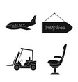 isolated object of airport and airplane logo vector image vector image
