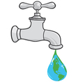 Leaking Faucet The Earth Planet Droplet vector image
