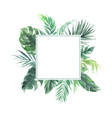 leaves border with square blank area wedding vector image vector image