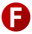 Letter F in red circle vector image