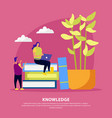 library knowledge flat composition vector image vector image