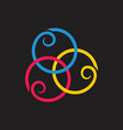 linked loop curves overlapping logo vector image vector image