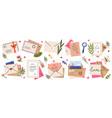 mail envelopes post cards envelopes post stamps vector image