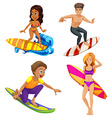 Male and female surfers vector image