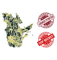 military camouflage collage of map of quebec vector image vector image
