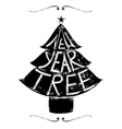 New Year Tree Retro Lettering vector image vector image