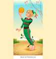 page of pentacles tarot card vector image