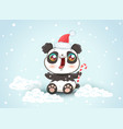 panda on snow in kawaii style vector image vector image