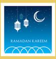 ramadan kareem islamic greeting card design in vector image