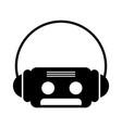 retro cassette with earphones vector image vector image