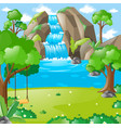 scene with waterfall in the woods vector image vector image