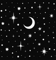 seamless image starry sky with crescent moon vector image