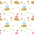 seamless pattern with cute autumn cats vector image vector image