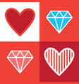 set diamonds and heart shapes in retro style vector image vector image