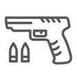 shooter game line icon game and play gun sign