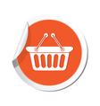 shop basket icon orange sticker vector image vector image