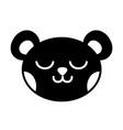 silhouette sleeping bear head cute animal vector image