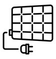 solar panel plug icon outline style vector image