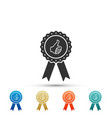 thumbs up on medal badge with ribbons icon vector image