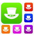 top hat with buckle set color collection vector image vector image