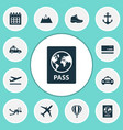 traveling icons set with air balloon passport vector image