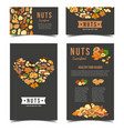 vertical posters for vegan nut nutrition vector image vector image