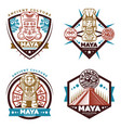 vintage colored maya civilization emblems set vector image vector image