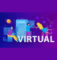 virtual reality flat composition vector image vector image
