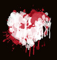 watercolor abstract heart with red and white drops vector image